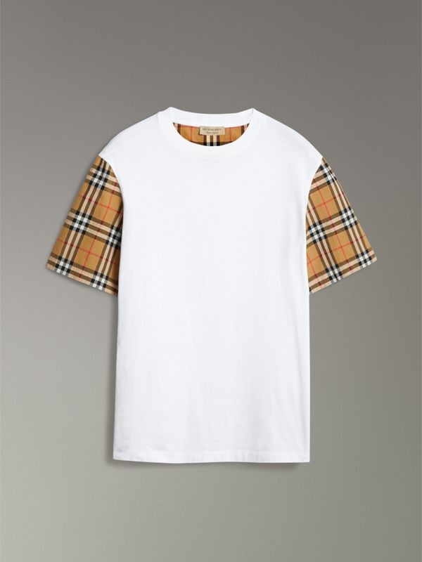 Vintage Check Sleeve Cotton T-shirt in White - Women | Burberry United Kingdom - cell image 3