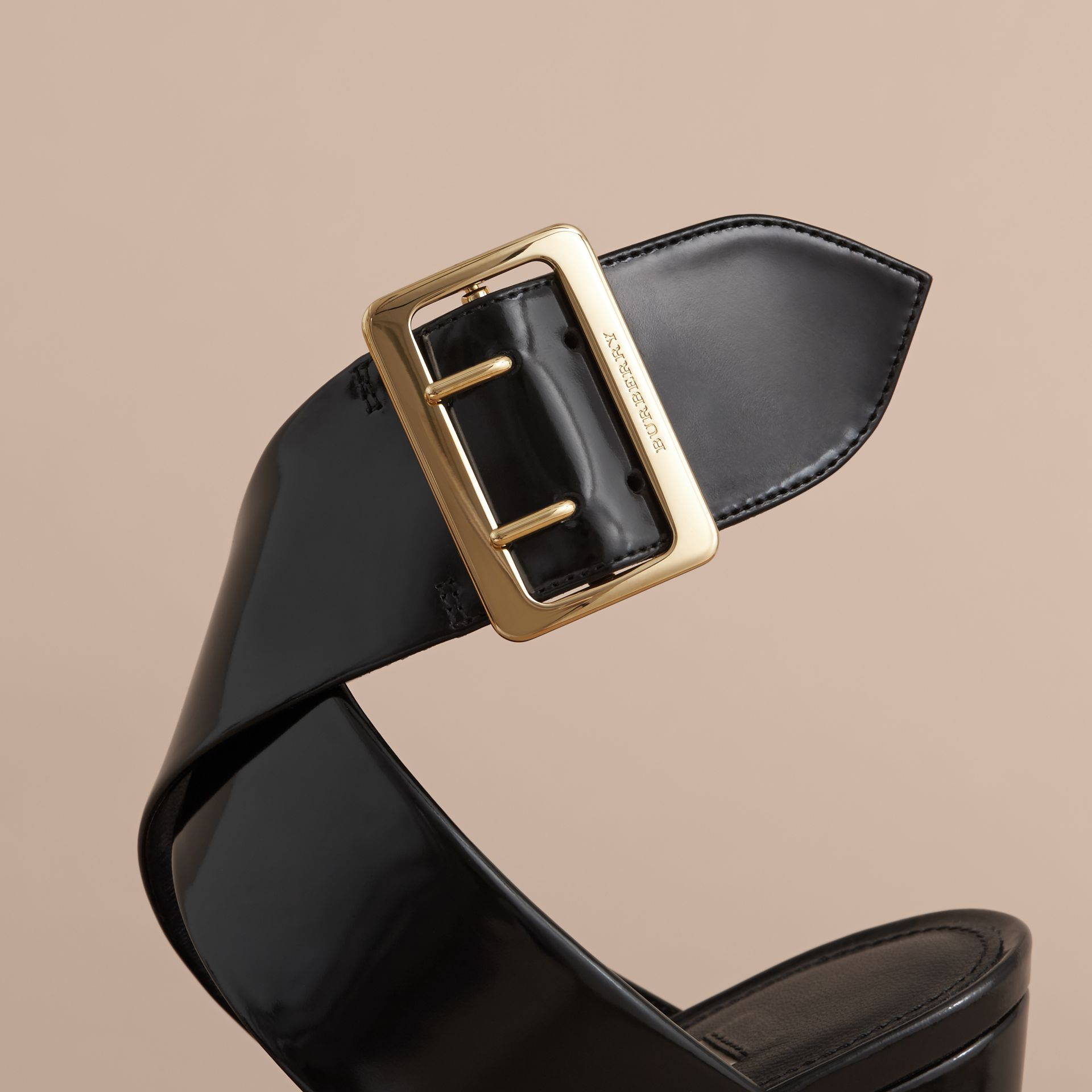 Buckle Detail Patent Leather Sandals - Women | Burberry - gallery image 5