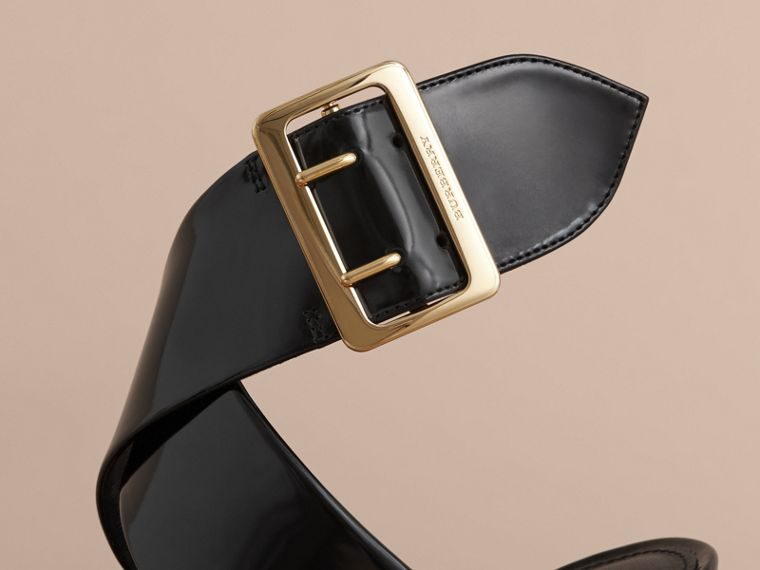 Buckle Detail Patent Leather Sandals in Black - Women | Burberry - cell image 4