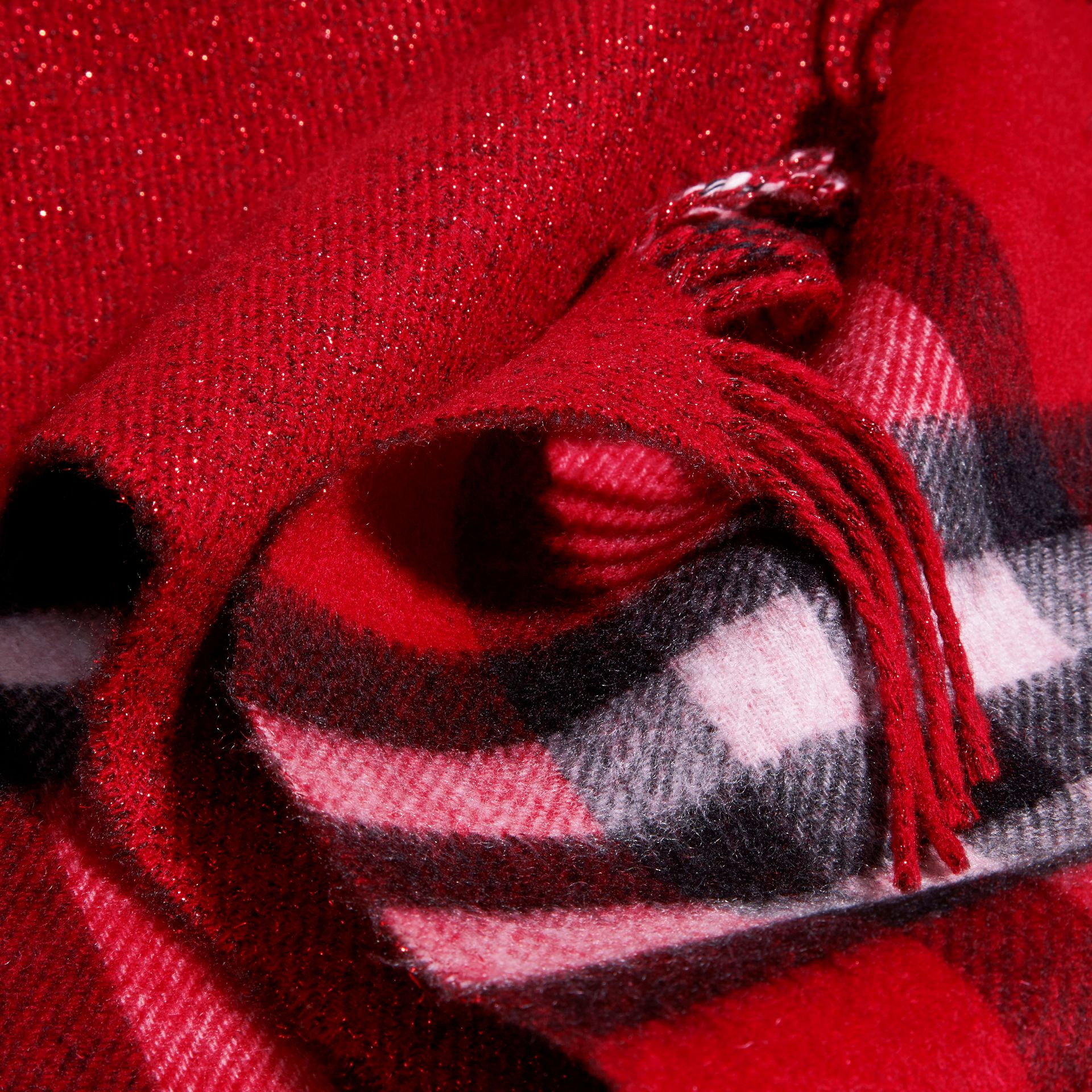 Reversible Metallic Check Cashmere Scarf in Parade Red - gallery image 5