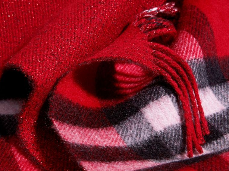 Reversible Metallic Check Cashmere Scarf in Parade Red - cell image 4