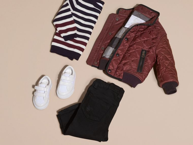 Deep burgundy Lightweight Quilted Bomber Jacket - cell image 4
