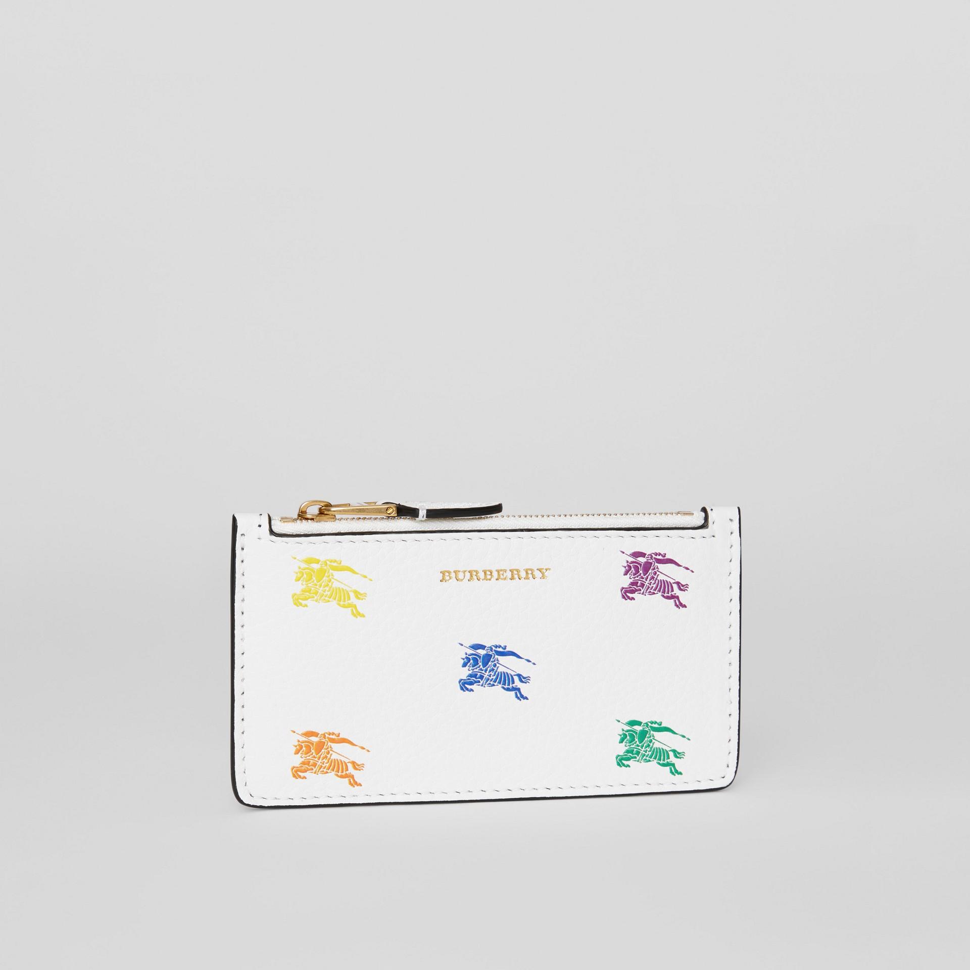 Porta-cartões de couro com zíper e Equestrian Knight (Branco Giz) - Mulheres | Burberry - galeria de imagens 3
