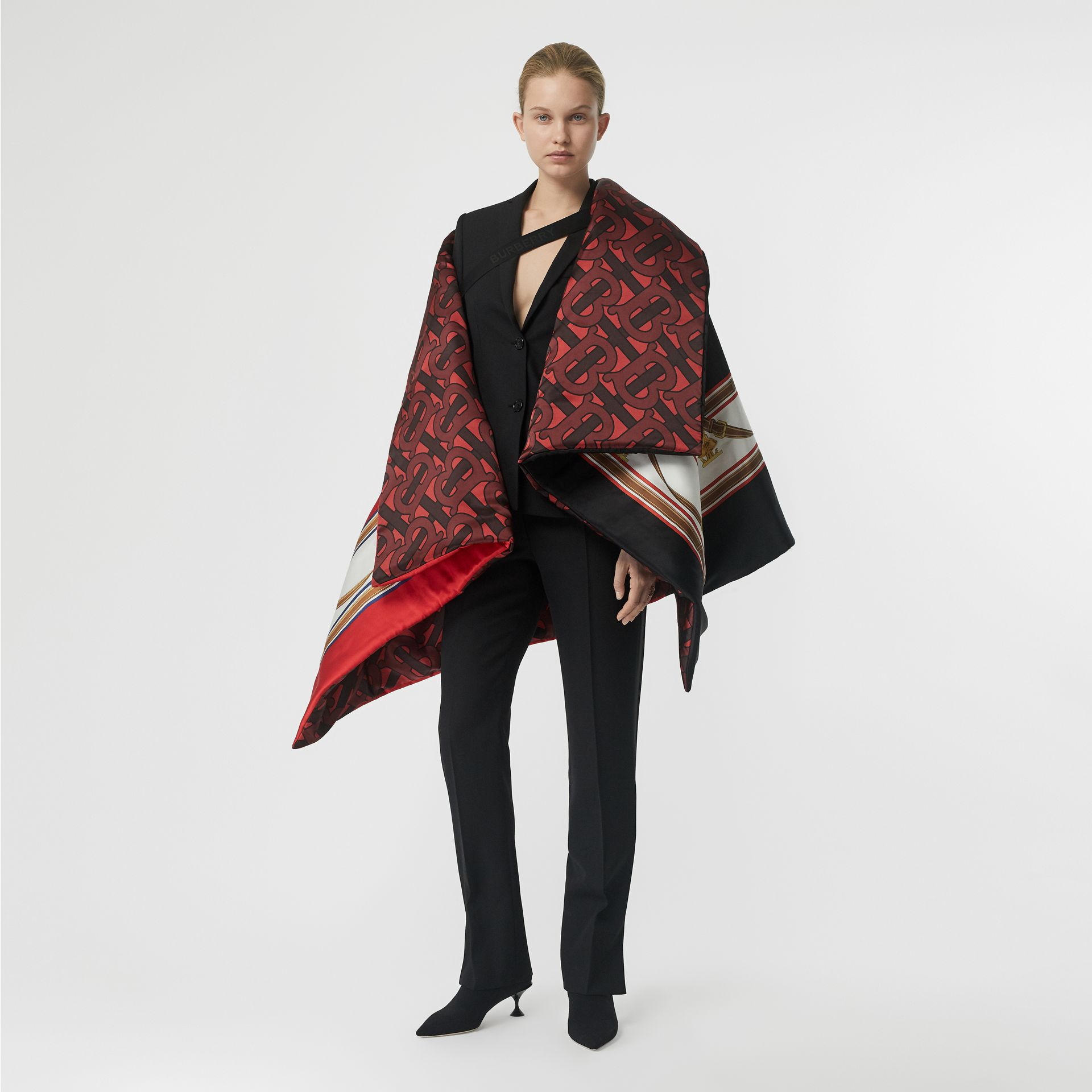 Archive Scarf Print Silk Satin Oversized Puffer Cape in Crimson - Women | Burberry United Kingdom - gallery image 0