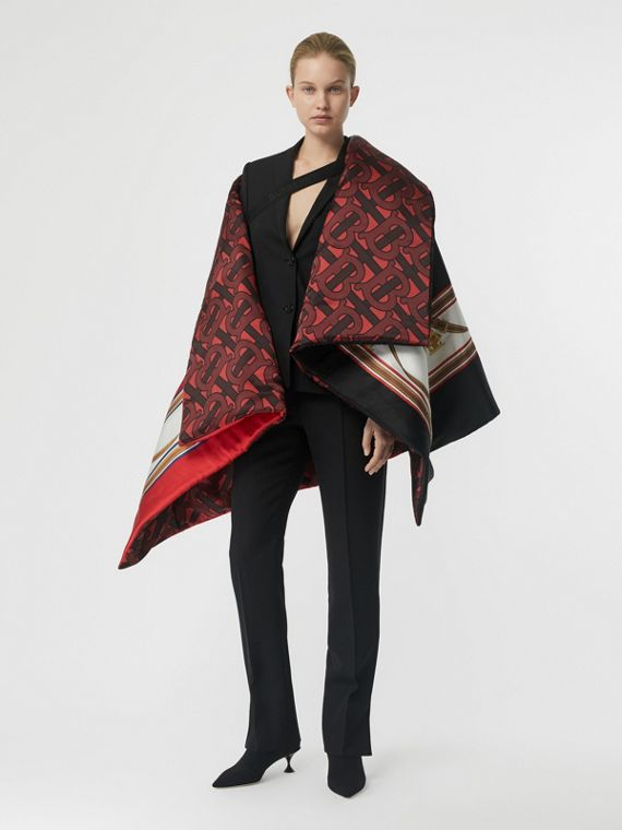 Archive Scarf Print Silk Satin Oversized Puffer Cape in Crimson