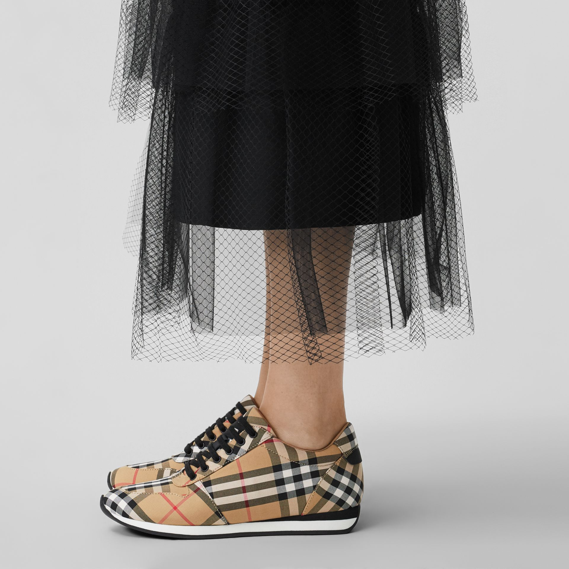 Vintage Check Cotton Sneakers in Antique Yellow - Women | Burberry Australia - gallery image 2