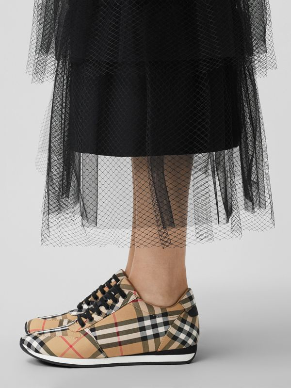 Vintage Check Cotton Sneakers in Antique Yellow - Women | Burberry Australia - cell image 2