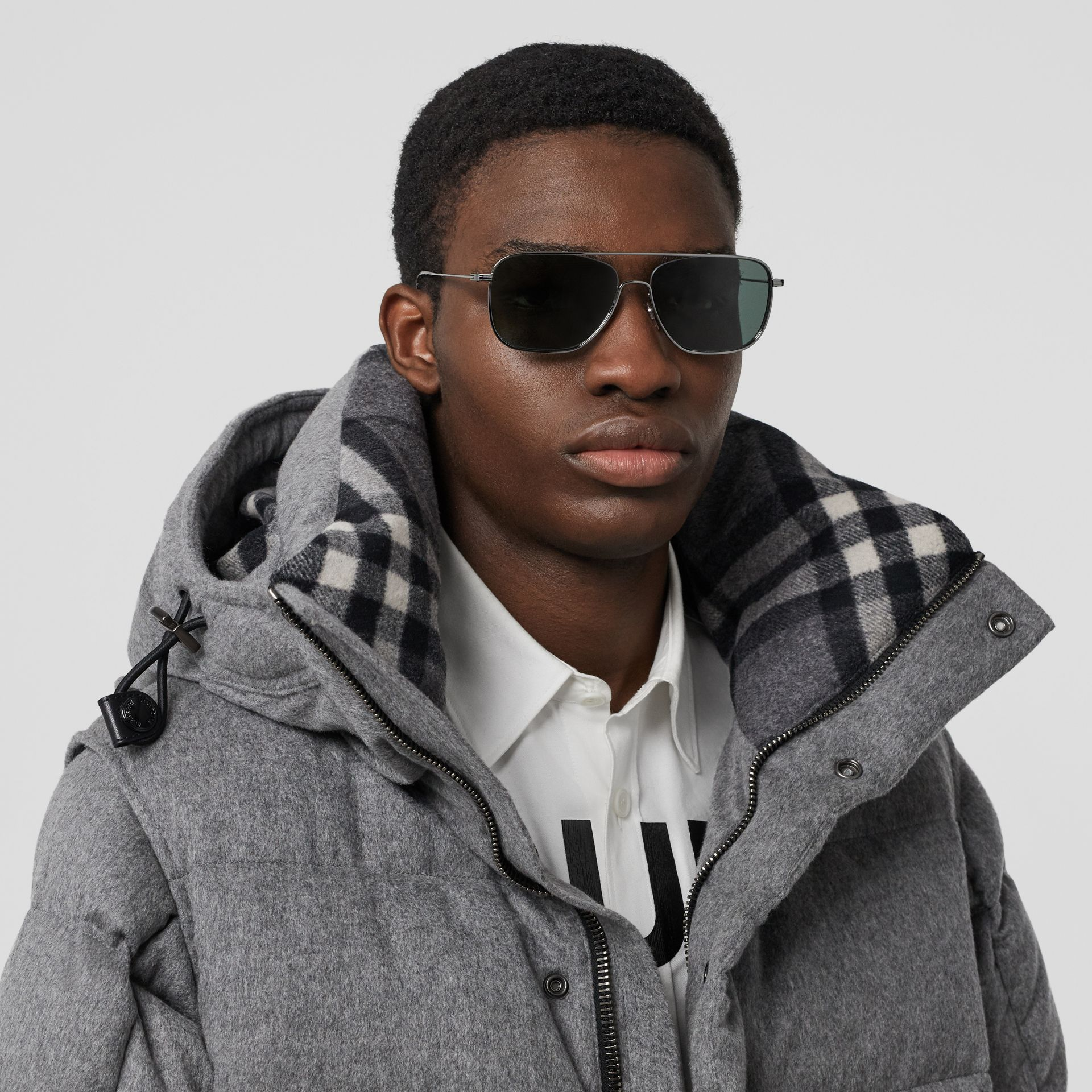 Top Bar Detail Square Frame Sunglasses in Silver - Men | Burberry - gallery image 2