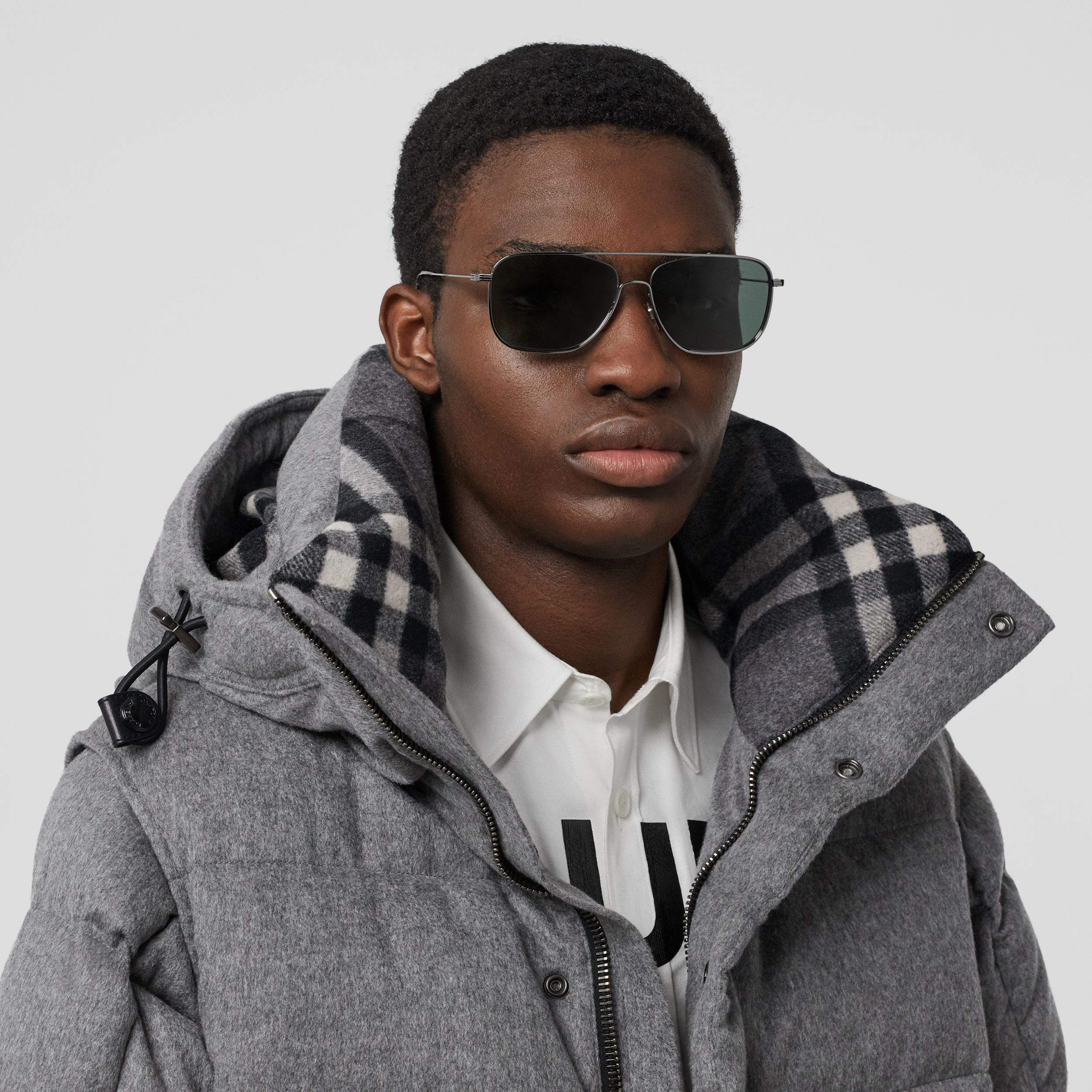Top Bar Detail Square Frame Sunglasses in Silver - Men | Burberry - 3