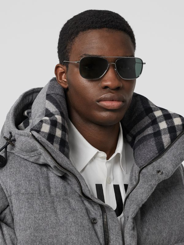 Top Bar Detail Square Frame Sunglasses in Silver - Men | Burberry - cell image 2