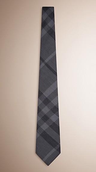 Modern Cut Check Silk Cashmere Tie
