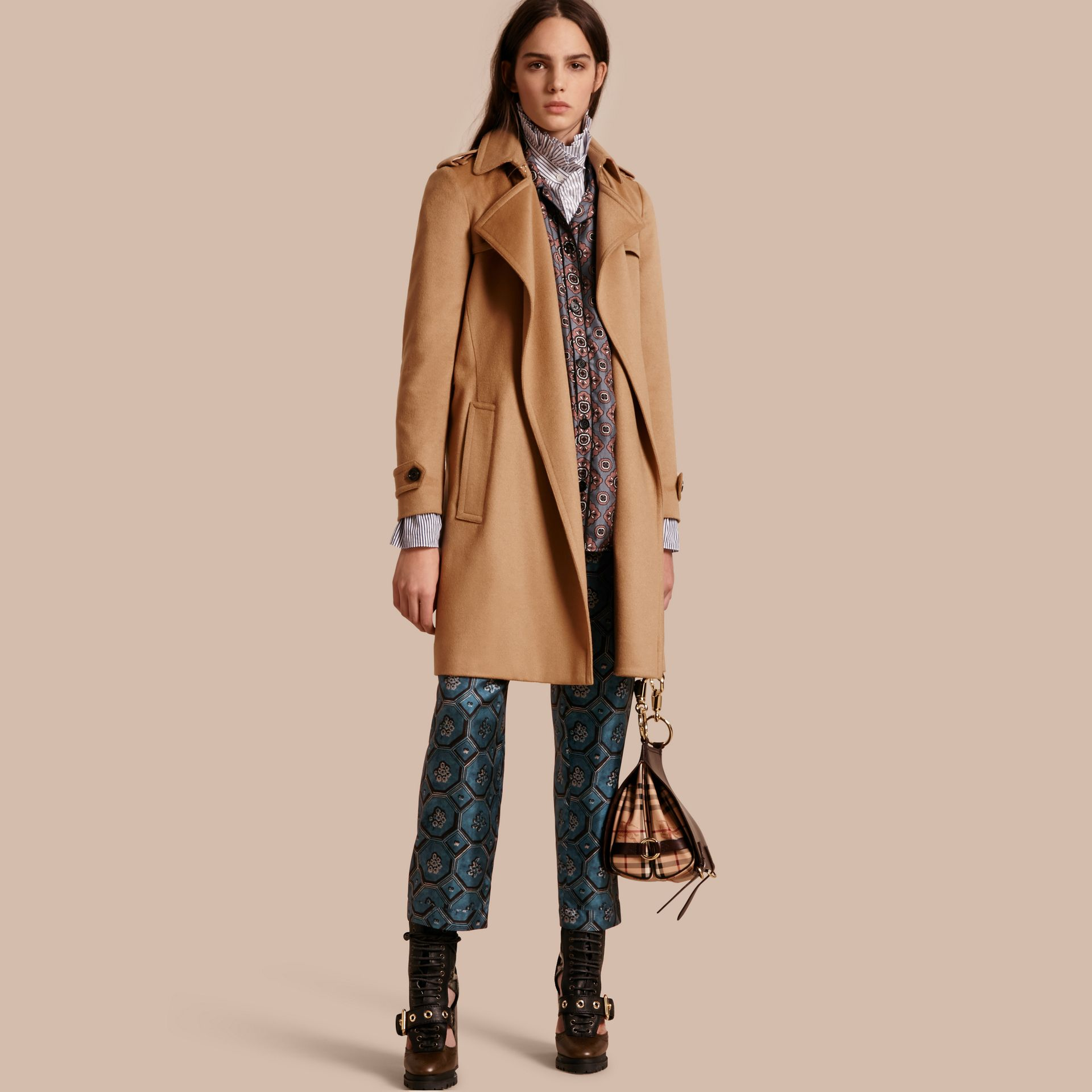 Cashmere Wrap Trench Coat Camel - gallery image 1