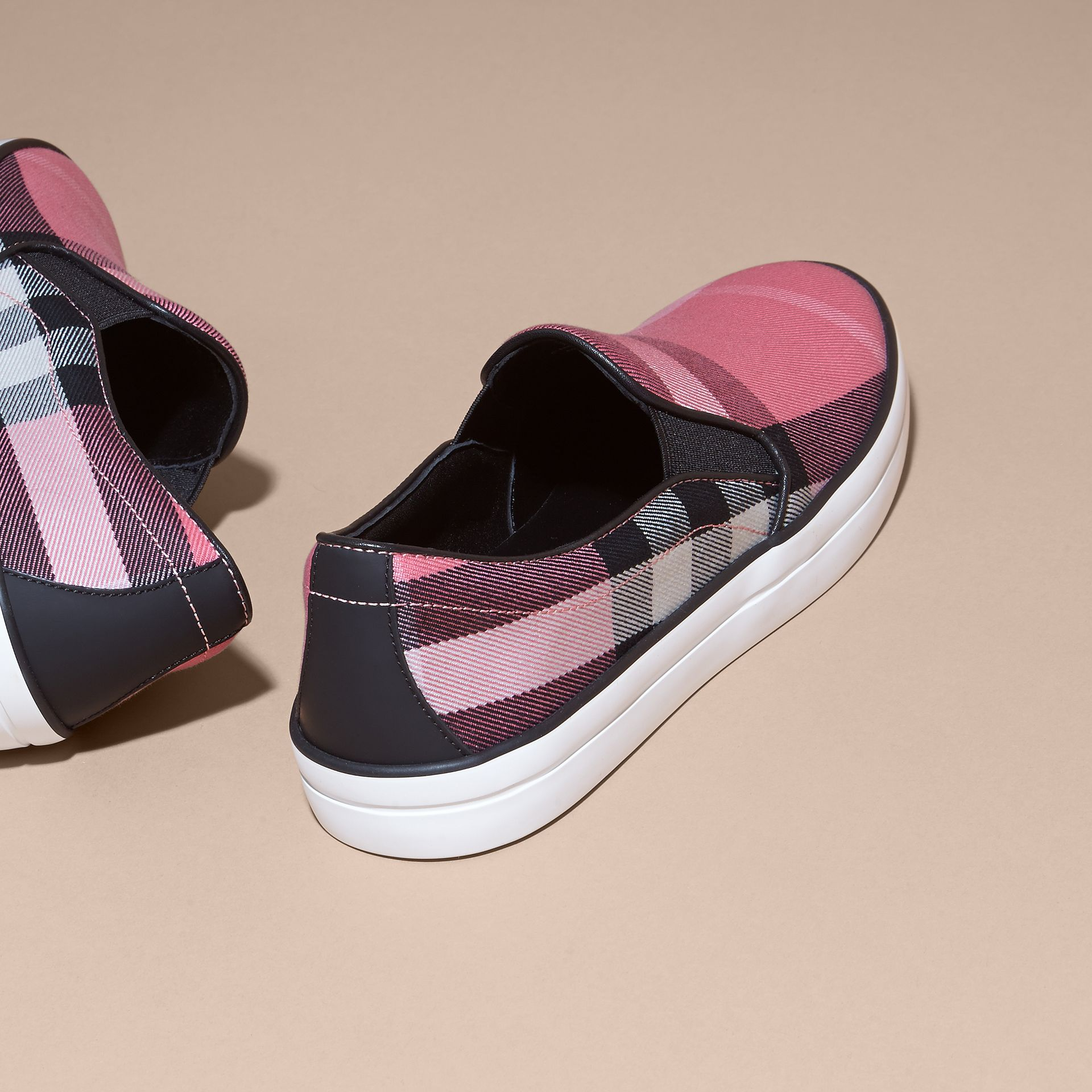 Overdyed House Check Cotton Slip-on Trainers Rose Pink - gallery image 4