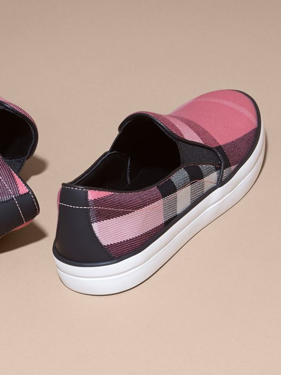 Overdyed House Check Cotton Slip-on Trainers Rose Pink - cell image 3