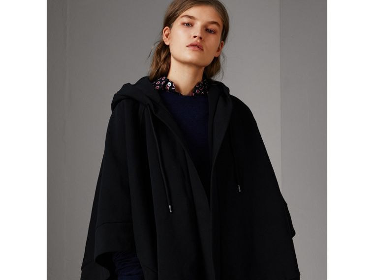 Embroidered Jersey Hooded Cape in Black | Burberry Australia - cell image 4
