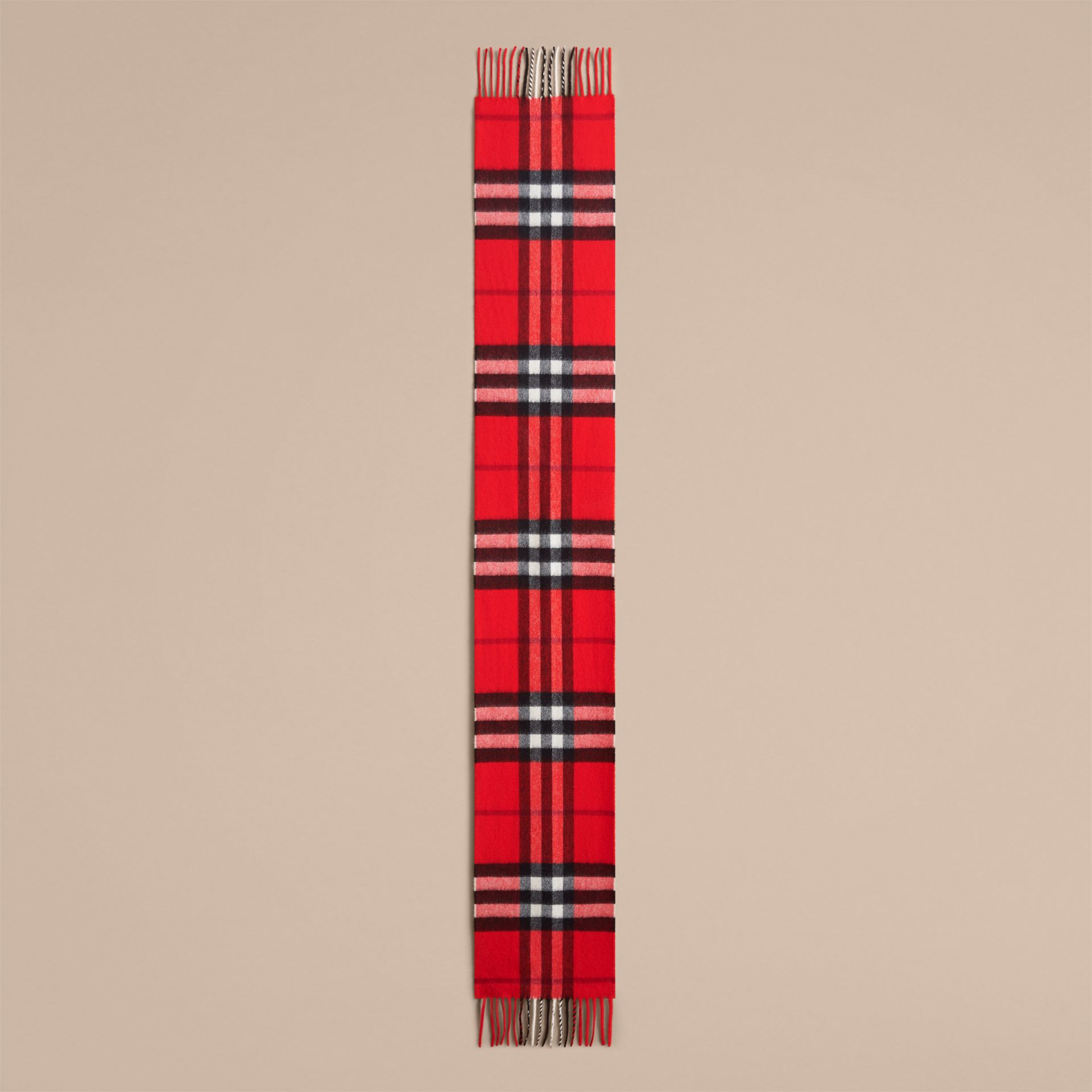 The Mini Classic Check Cashmere Scarf in Bright Orange Red | Burberry Australia - gallery image 1