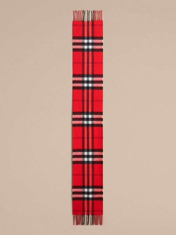The Mini Classic Check Cashmere Scarf in Bright Orange Red | Burberry United States - cell image 1