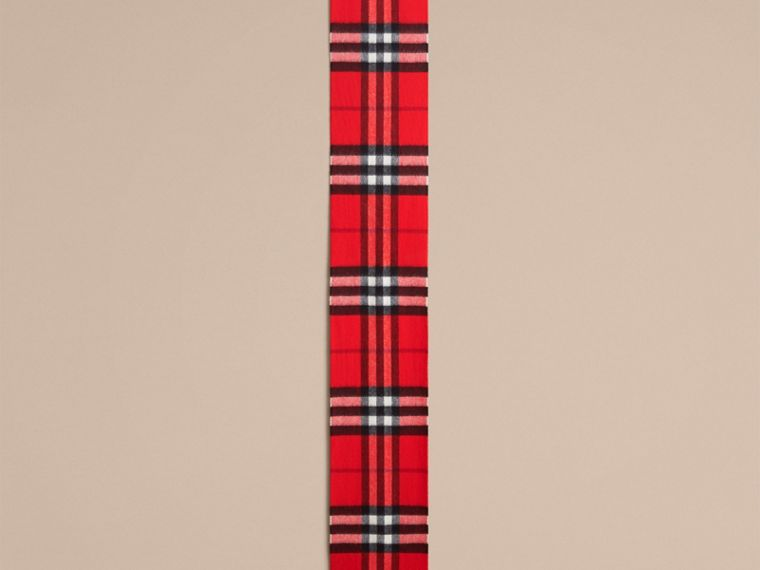The Mini Classic Check Cashmere Scarf in Bright Orange Red | Burberry - cell image 1