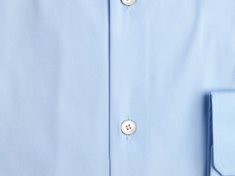 Modern Fit Button-down Collar Stretch Cotton Shirt in City Blue - cell image 1