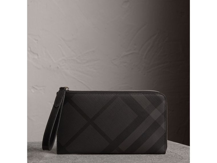 London Check Travel Wallet in Charcoal/black - Men | Burberry Hong Kong - cell image 4