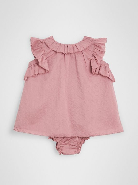 Ruffle Detail Cotton Dress with Bloomers in Light Elderberry