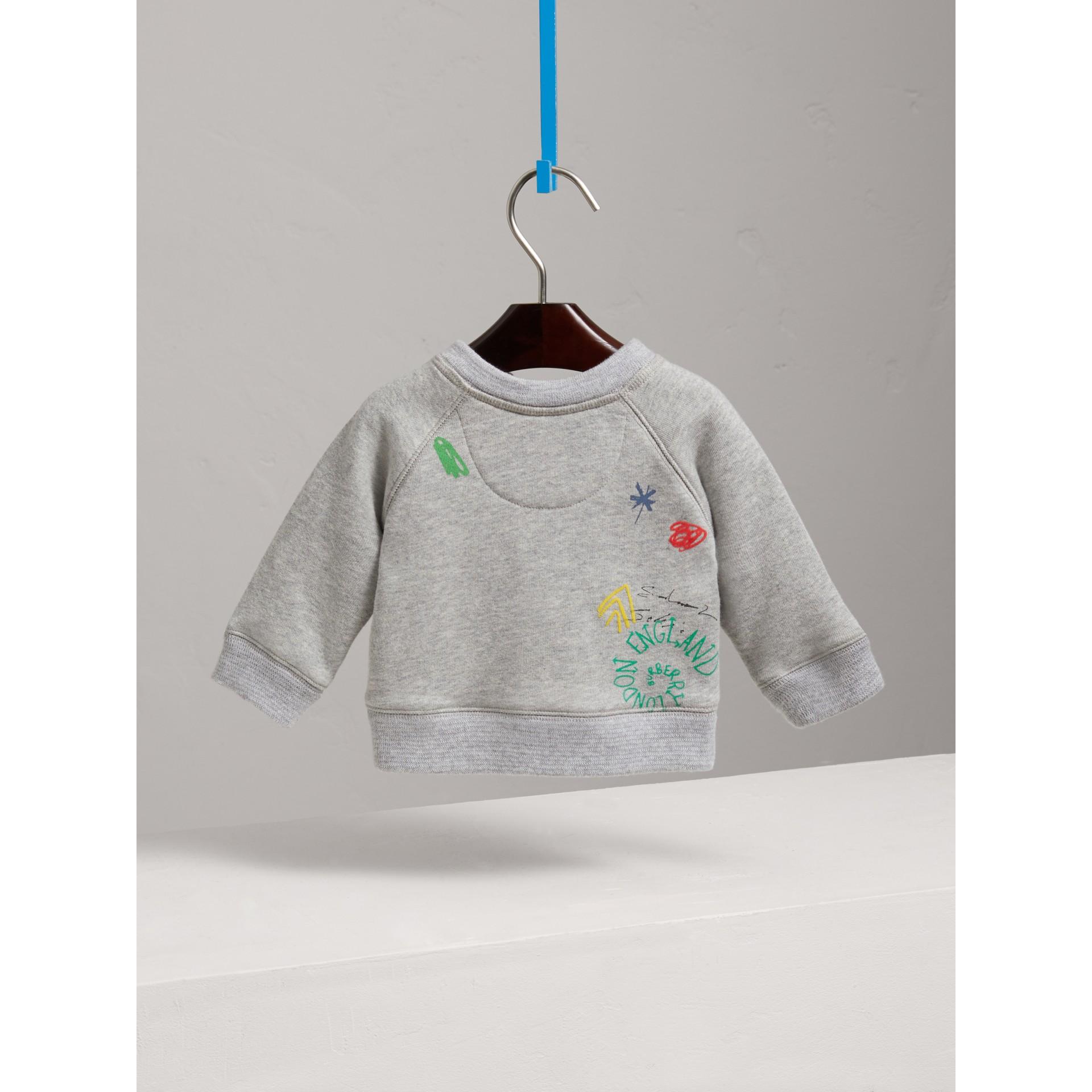 Adventure Motif Cotton Jersey Sweatshirt in Grey Melange | Burberry Singapore - gallery image 3