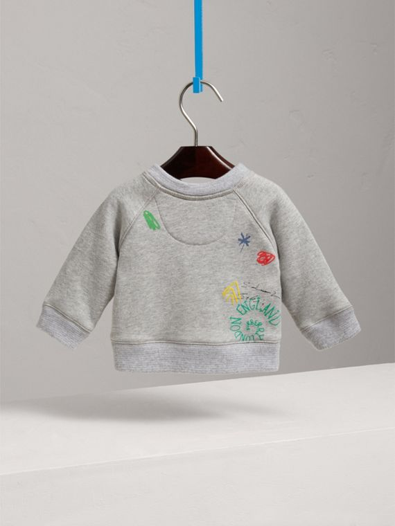 Adventure Motif Cotton Jersey Sweatshirt in Grey Melange | Burberry - cell image 3