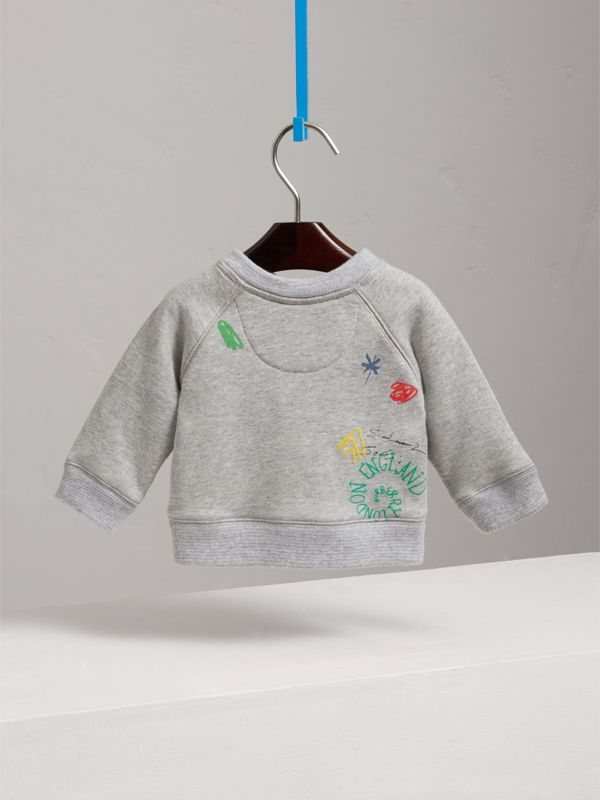 Adventure Motif Cotton Jersey Sweatshirt in Grey Melange - Children | Burberry - cell image 3
