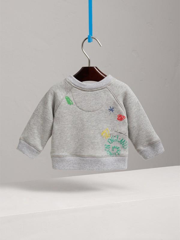 Adventure Motif Cotton Jersey Sweatshirt in Grey Melange - Children | Burberry United States - cell image 3