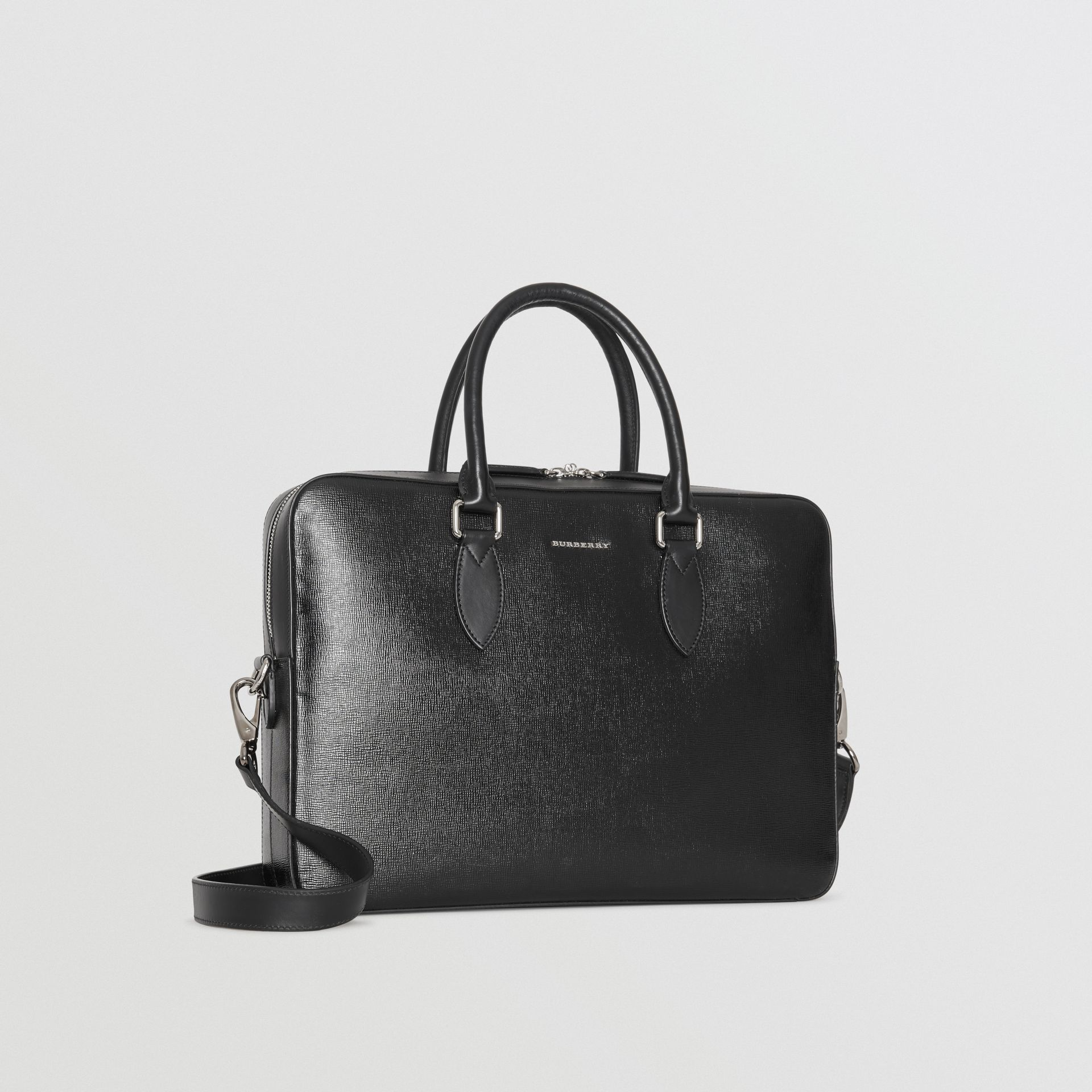 London Leather Briefcase in Black - Men | Burberry United States - gallery image 4