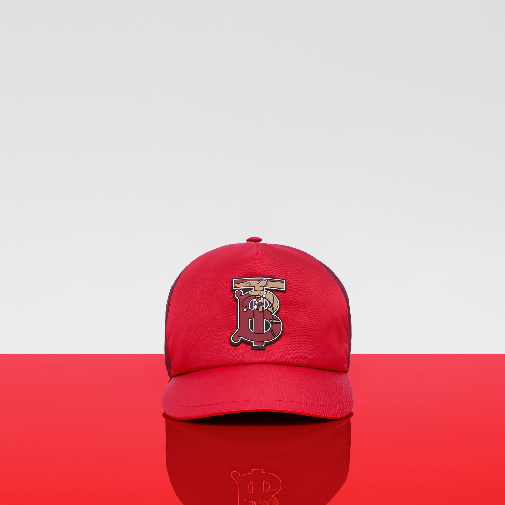 Monogram Motif Two-tone Baseball Cap in Bright Red | Burberry - gallery image 7