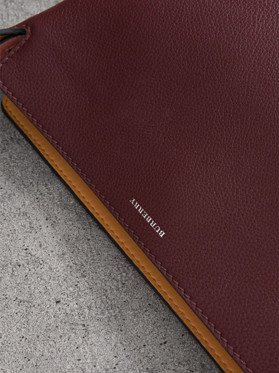 Medium Tri-tone Leather Clutch in Deep Claret/dusty Rose | Burberry - cell image 1