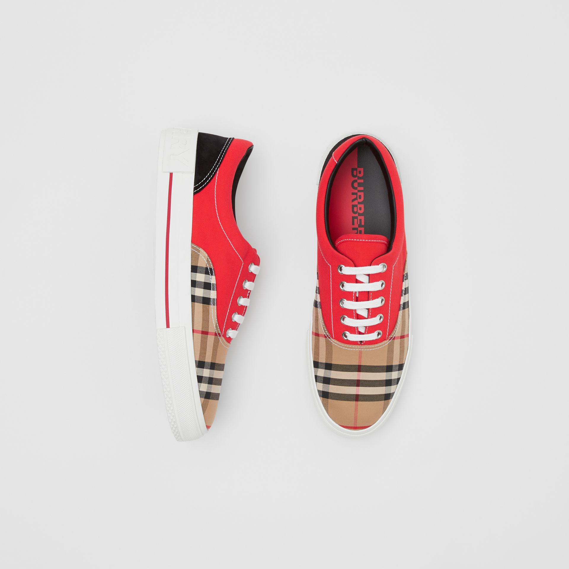 Vintage Check, Cotton Canvas and Suede Sneakers in Archive Beige/red - Men | Burberry Hong Kong S.A.R - gallery image 0