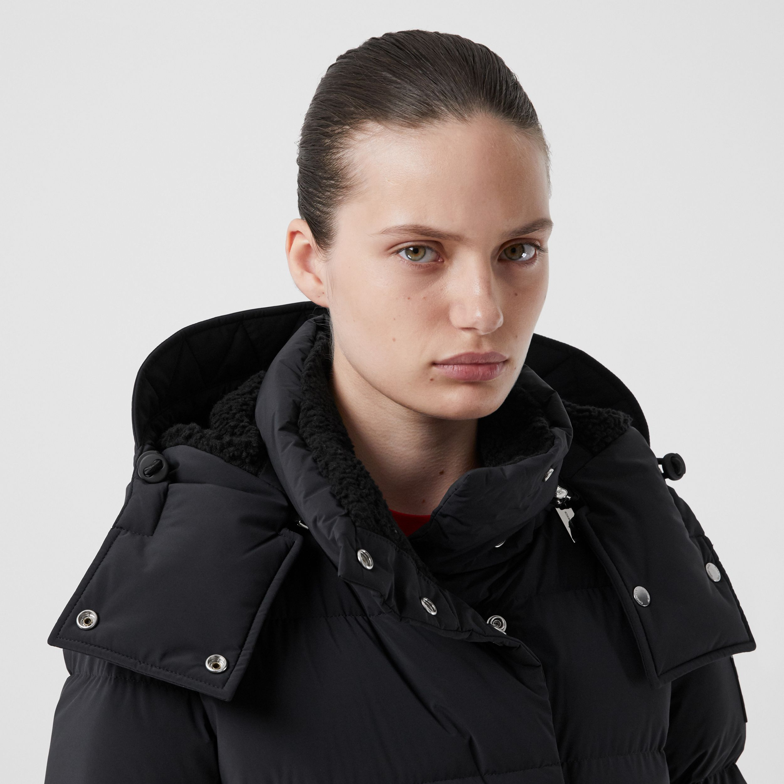 Detachable Hood Belted Puffer Coat in Black - Women | Burberry Hong Kong S.A.R. - 2