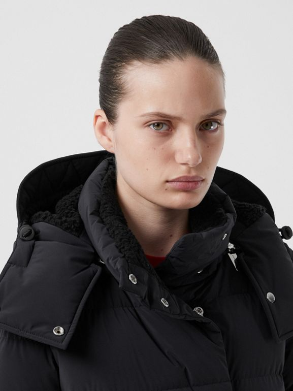 Detachable Hood Belted Puffer Coat in Black - Women | Burberry United Kingdom - cell image 1