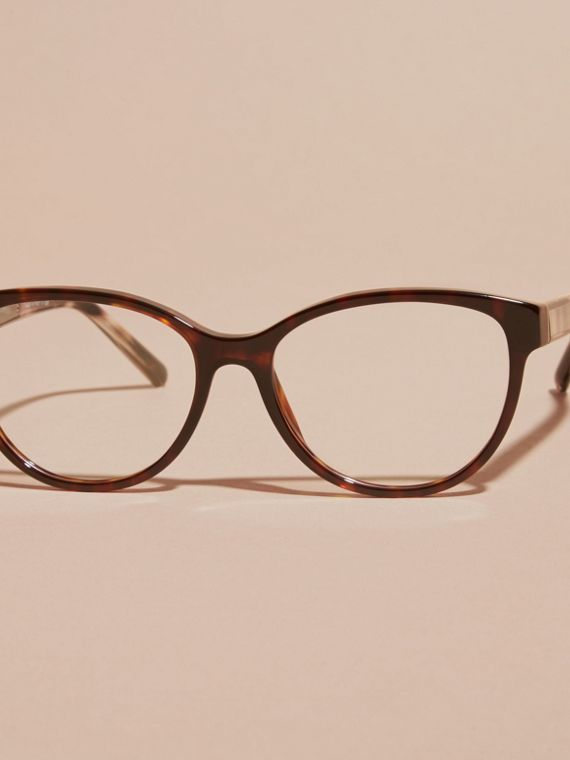 Light russet brown Check Detail Round Optical Frames Light Russet Brown - cell image 2