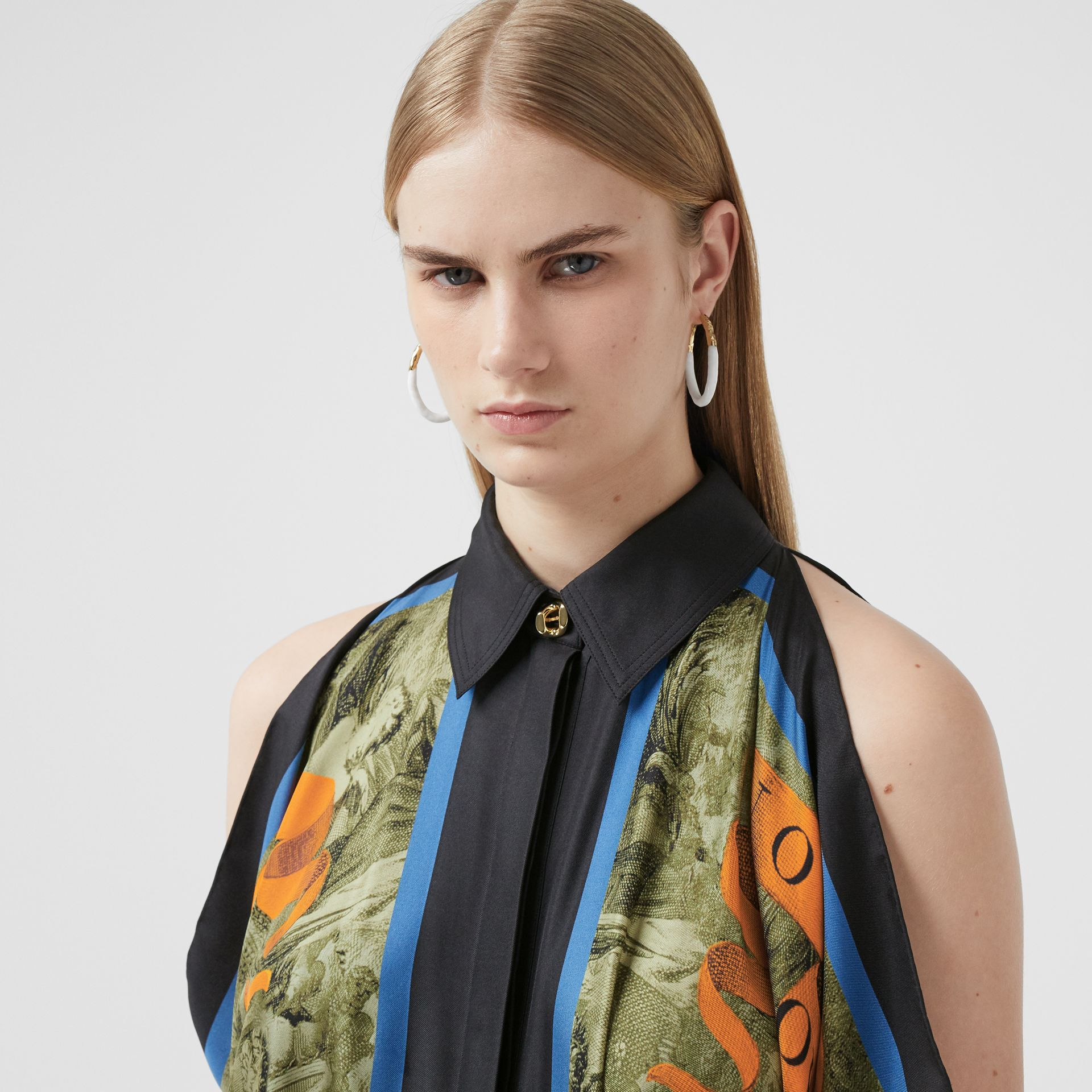 Map Print Draped Silk Dress in Antique Green | Burberry - gallery image 1