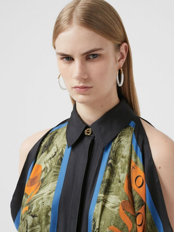 Map Print Draped Silk Dress in Antique Green | Burberry - cell image 1