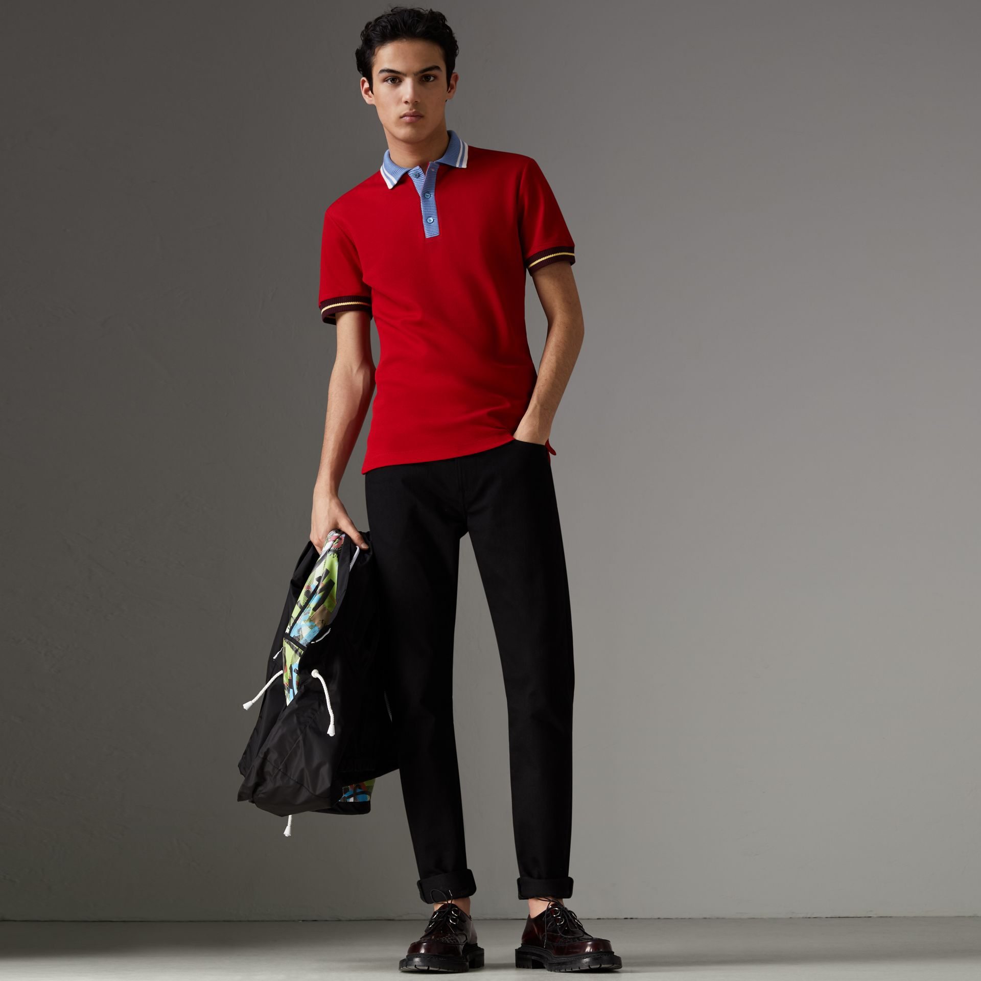 Two-tone Stripe Knitted Detail Cotton Polo Shirt in Cadmium Red - Men | Burberry - gallery image 5