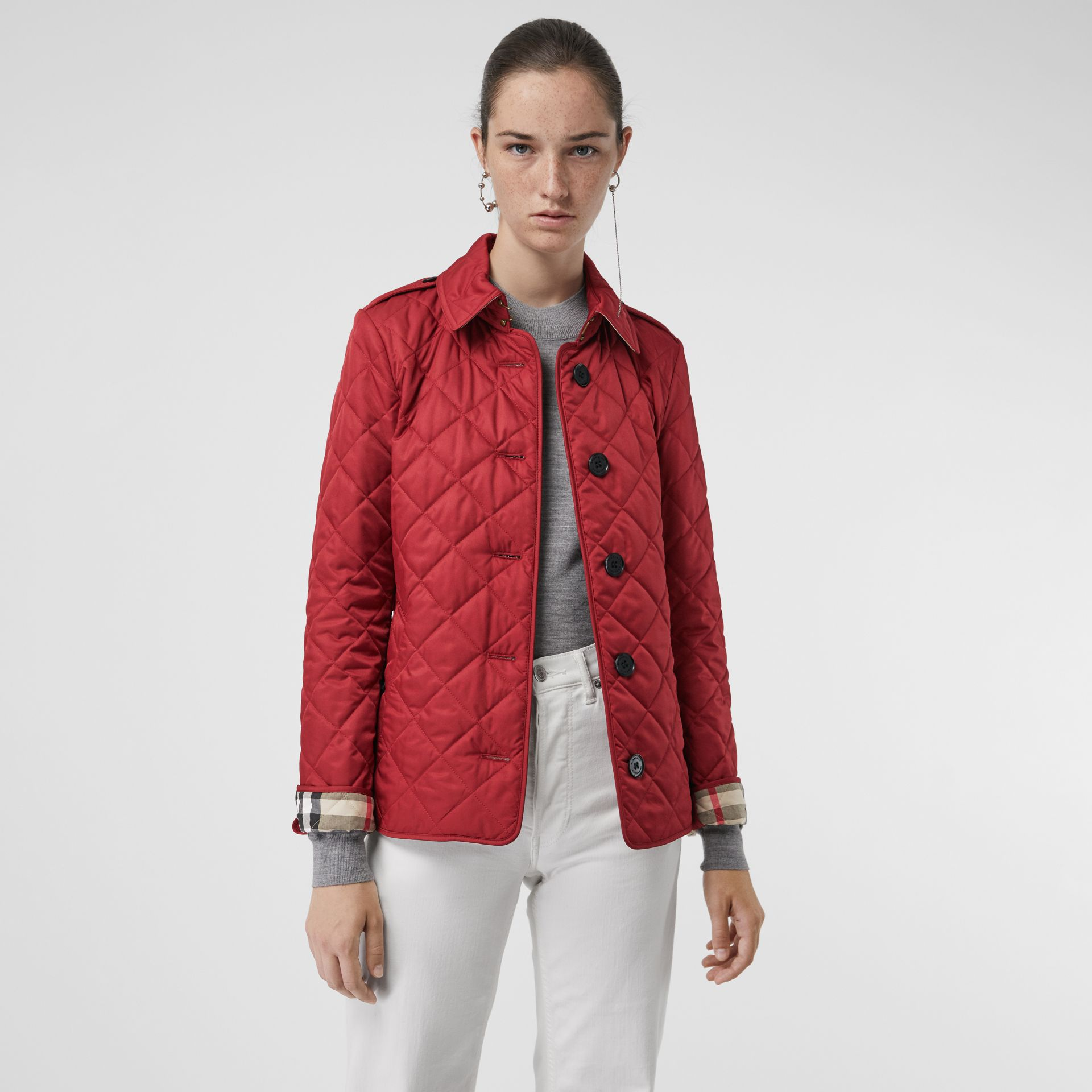 Diamond Quilted Jacket in Parade Red | Burberry - gallery image 5