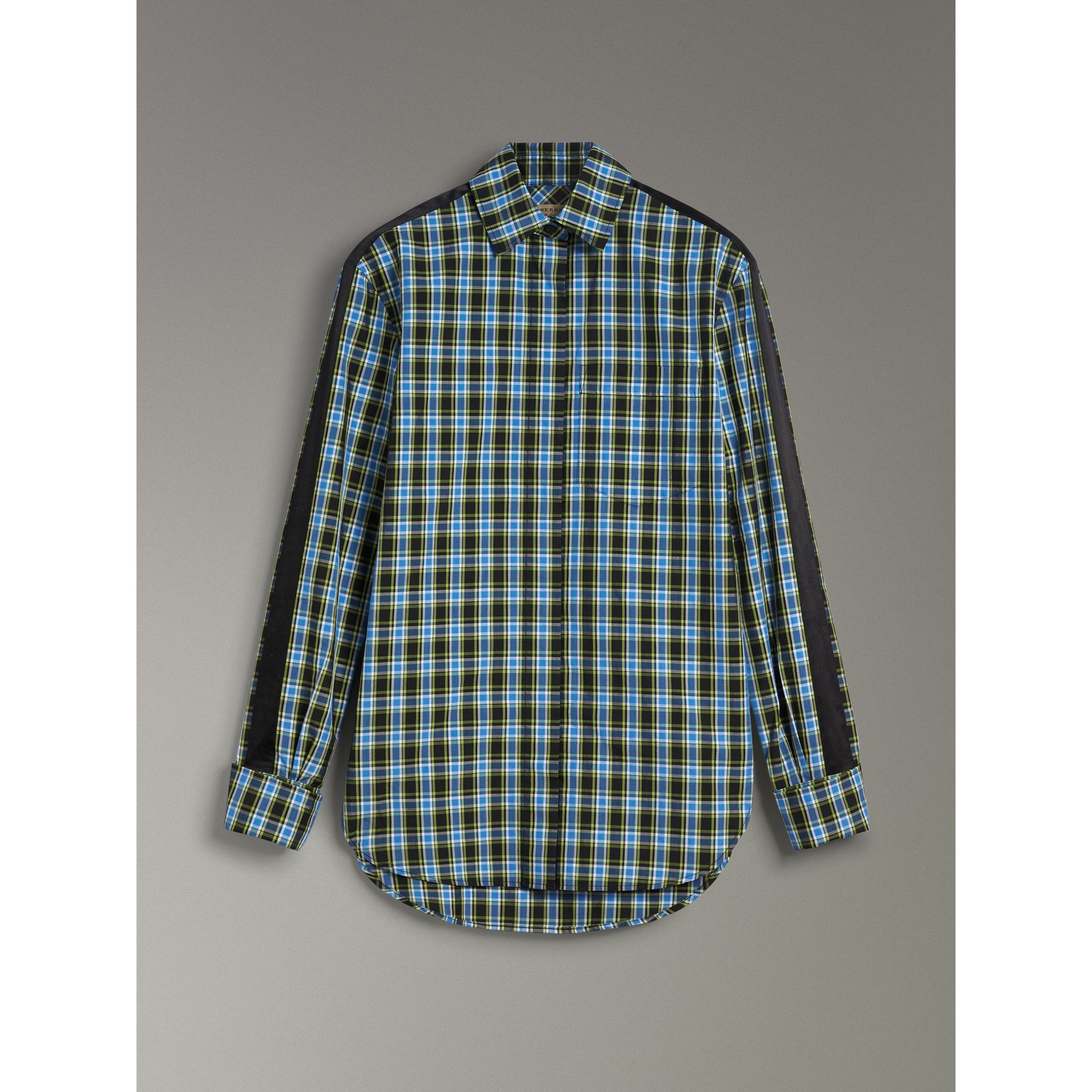 Stripe Detail Check Cotton Silk Shirt in Azure Blue - Women | Burberry Singapore - gallery image 3