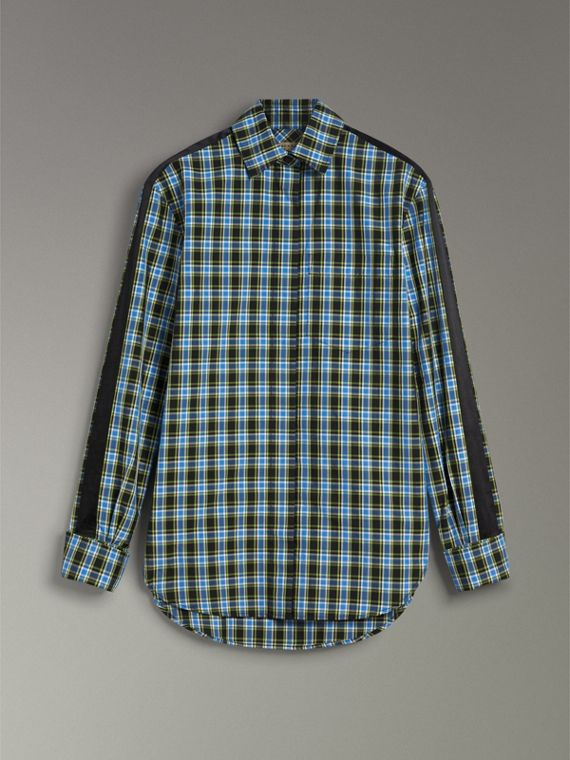 Stripe Detail Check Cotton Silk Shirt in Azure Blue - Women | Burberry Hong Kong - cell image 3
