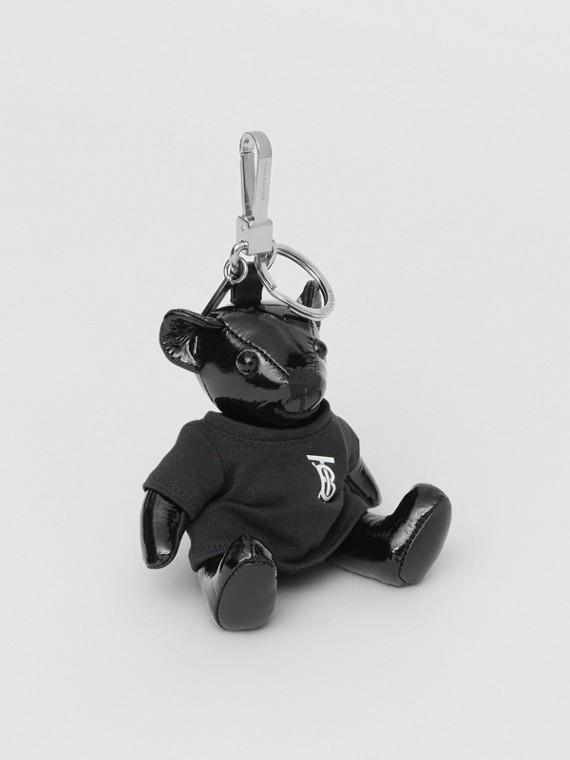 Adorno tipo llavero de osito de peluche Thomas con camiseta y monograma (Negro)
