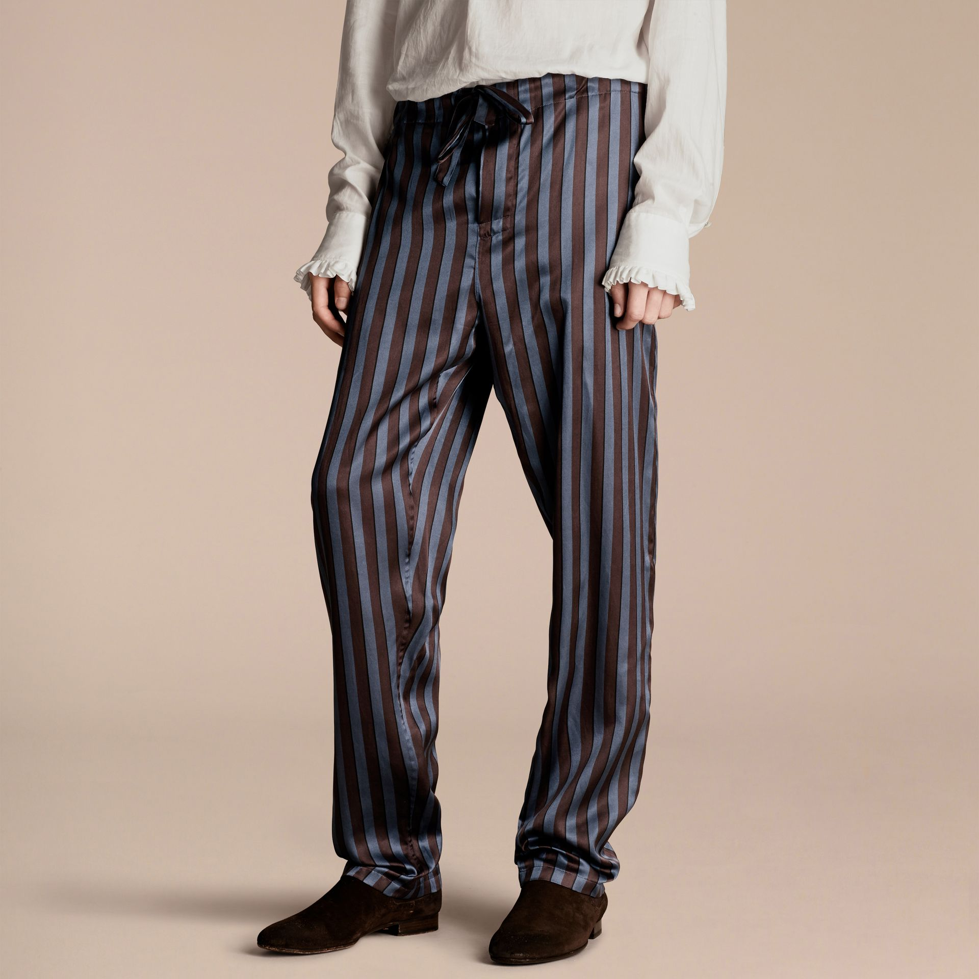 Navy Striped Silk Cotton Pyjama-style Trousers - gallery image 5
