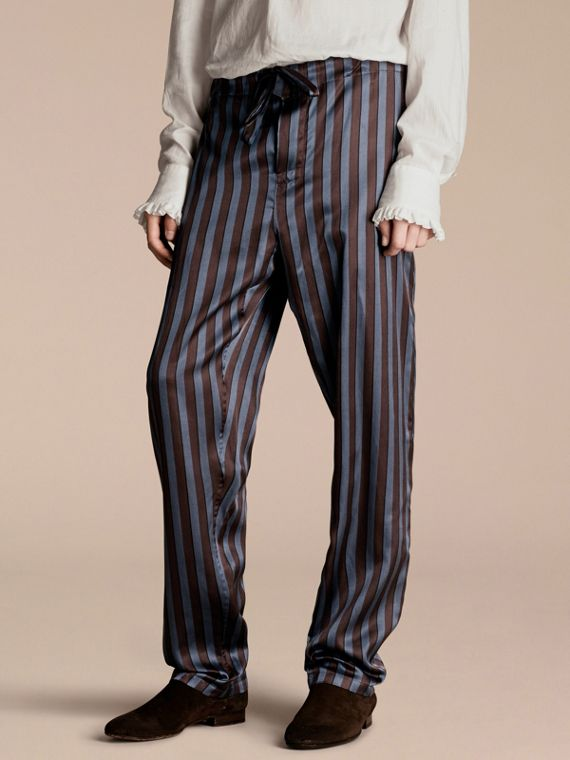 Striped Silk Cotton Pyjama-style Trousers