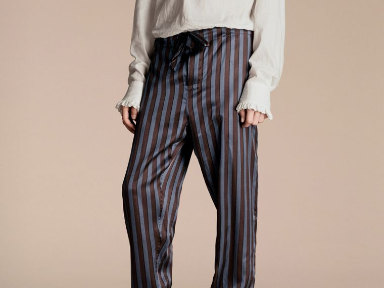 Navy Striped Silk Cotton Pyjama-style Trousers - cell image 4
