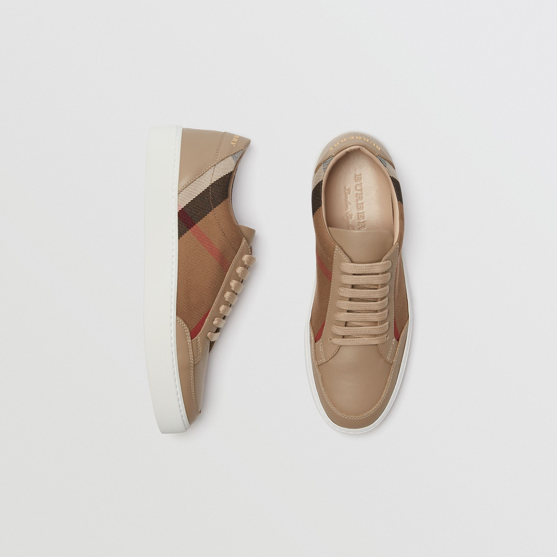 Check Detail Leather Sneakers in House Check/ Nude - Women | Burberry Singapore - gallery image 0