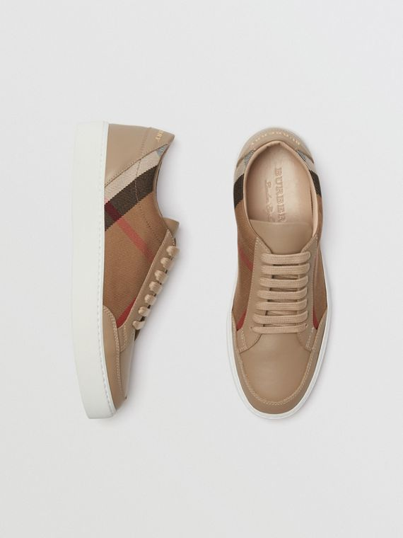 Check Detail Leather Sneakers in House Check/ Nude