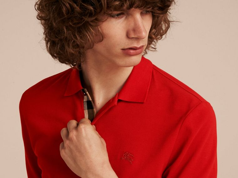 Check Placket Cotton Piqué Polo Shirt Military Red - cell image 4