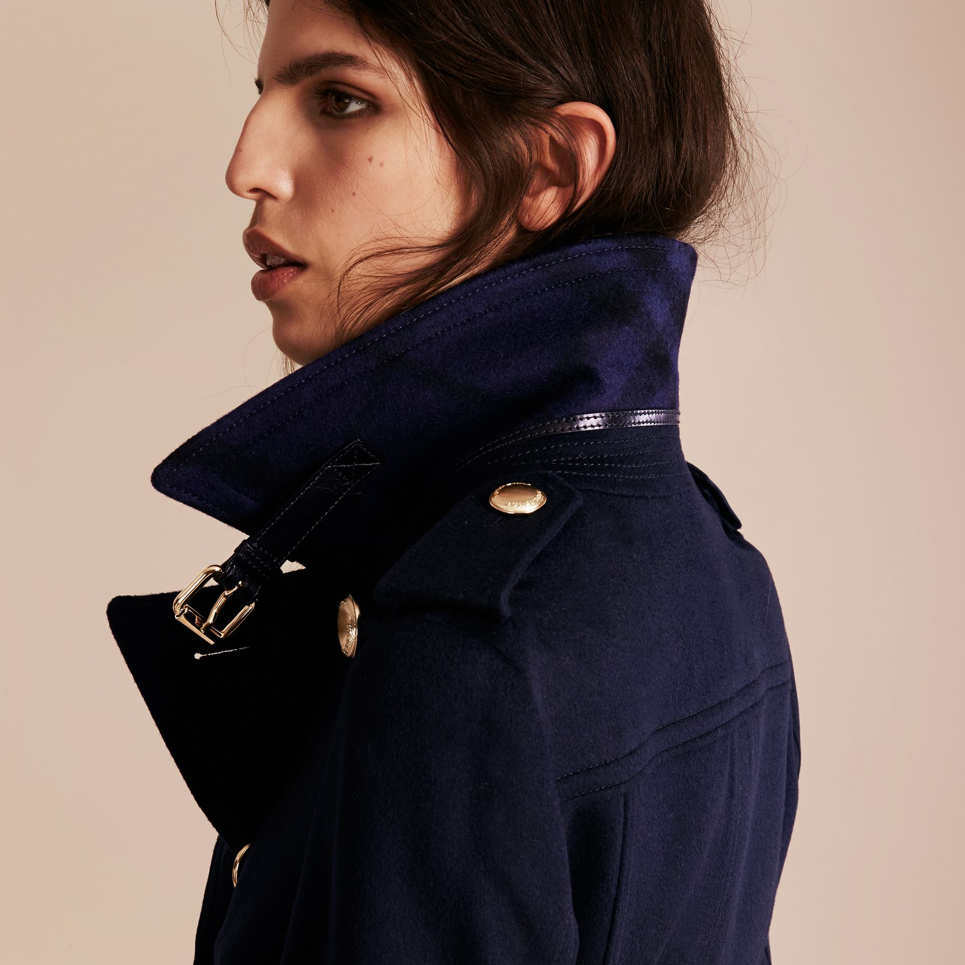 Navy Wool Cashmere Trench Coat with Detachable Fur Collar - gallery image 6